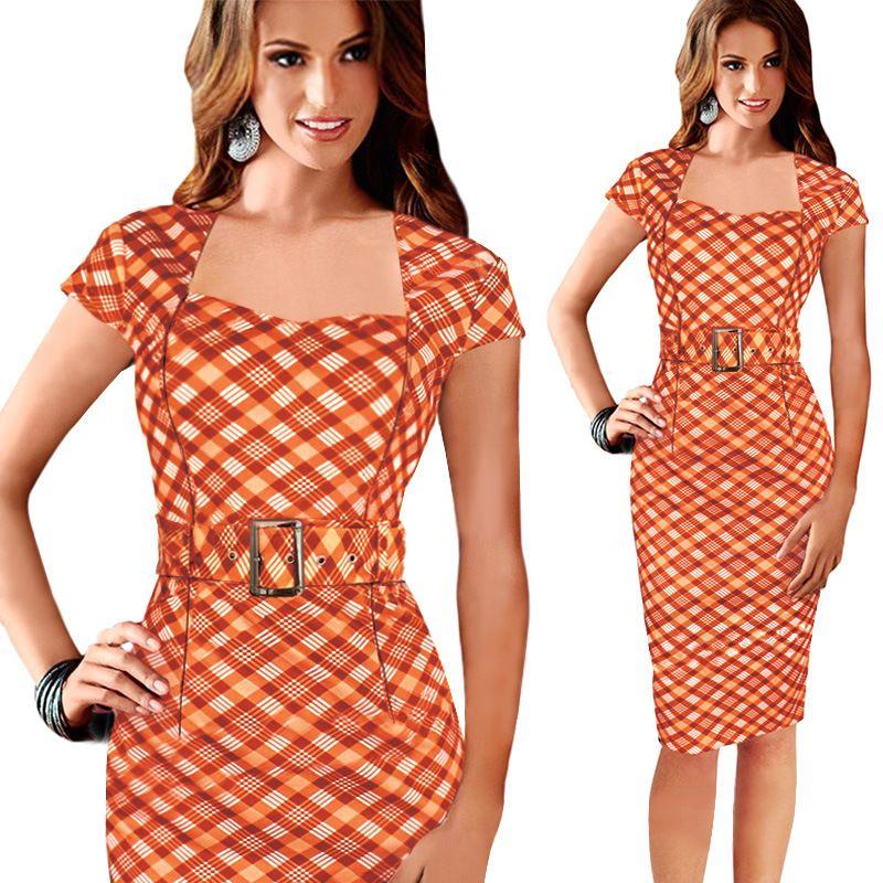 Women Summer Orange Dress Elegant Ladies' Casual Dress Office ...