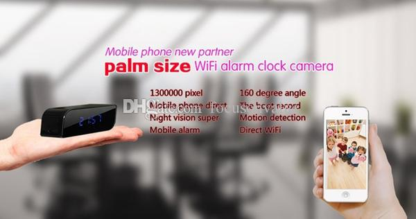 Mini IP camera P2P Network Wifi Clock DVR HD 720P with Night Vision Motion Detection Wide-angle view 160 degree Mini DV black