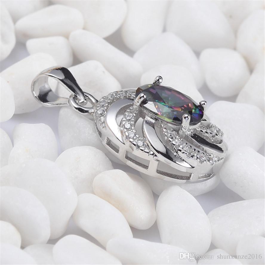 925 sterling silver moda pingentes shinning nobre generoso s-3731 rainbow fogo místico zirconia cúbico favorito best-seller recém-chegados