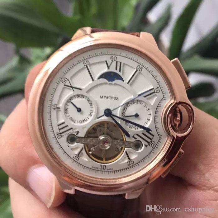 Alta Qualidade Top marca homens relógios Todos sub-dials trabalho de luxo assistir Moon Phase daydate automatic wristwatche automático para mens presente rejoles