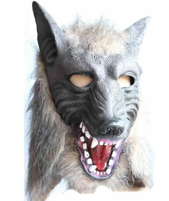 Scary Fur Latex Full Head Overhead Wolf Mask Creepy Halloween Cosplay Disfraz Disfraz Teatro Adulto Máscaras apoyos gris