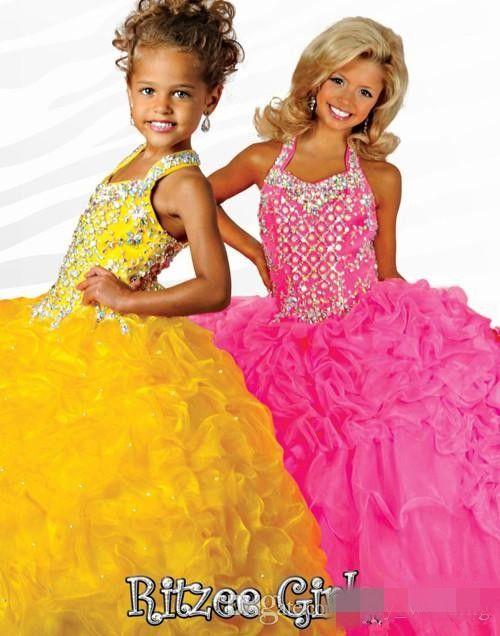 Princesa Flower Girl Vestidos para casamentos Amarelo Organza Organza Beads Cascading Ruffles Girls Pageant Party Wasses Vestido de menina