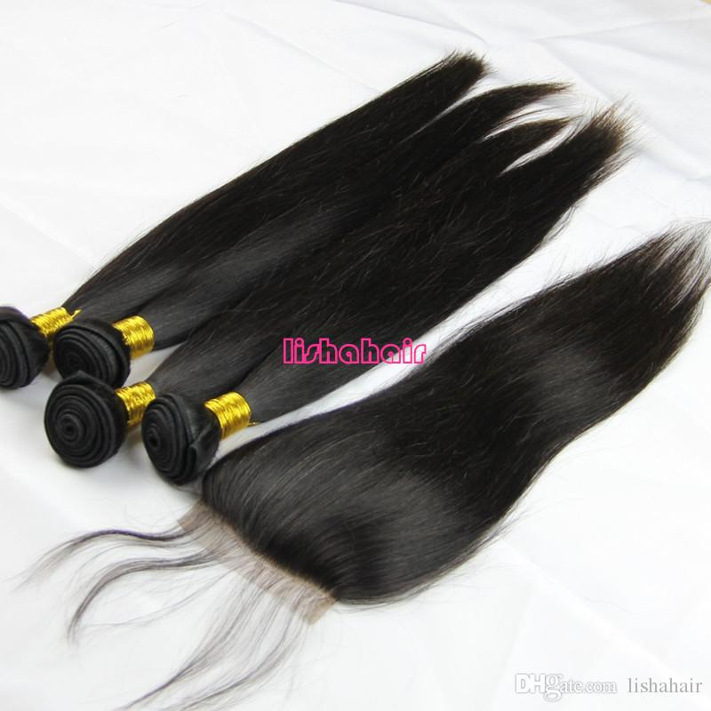 High quality grade 8A 100% unprocessed brazilian virgin silky straight human hair bundles with free part lace top closure