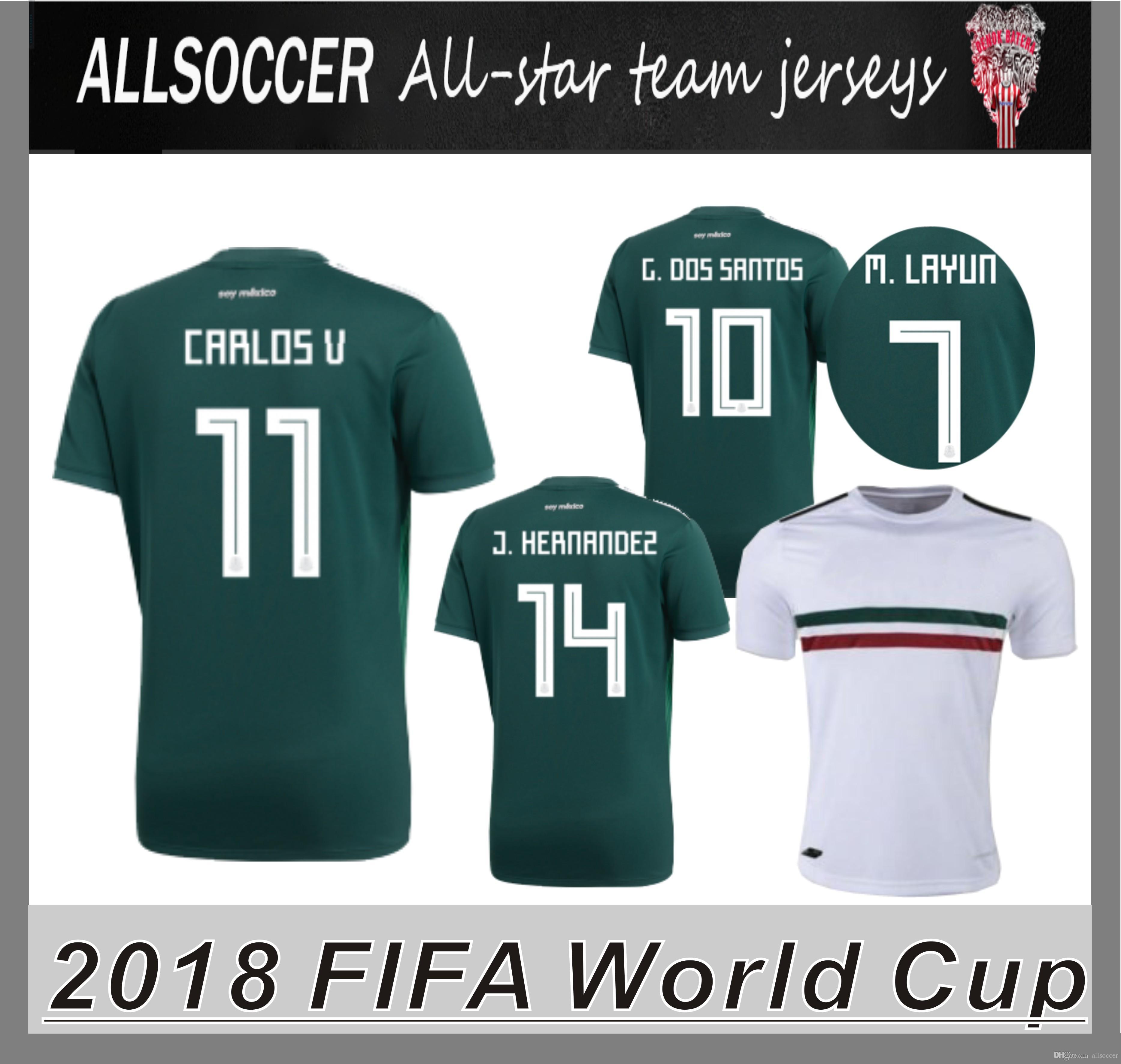 Más De Alta Calidad 2018 World Cup Jerseys México Jerseys De Fútbol Márquez  Chicharito Miguel Layun Héctor Herrera Giovani Dos Santos Carlos Vela Por  ...