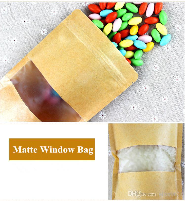 Self-sealed Stand Up Zip Lock Kraft Paper Brown Food Storage Bag With Dull Polish/Matte Window Pouches Zipper Bag
