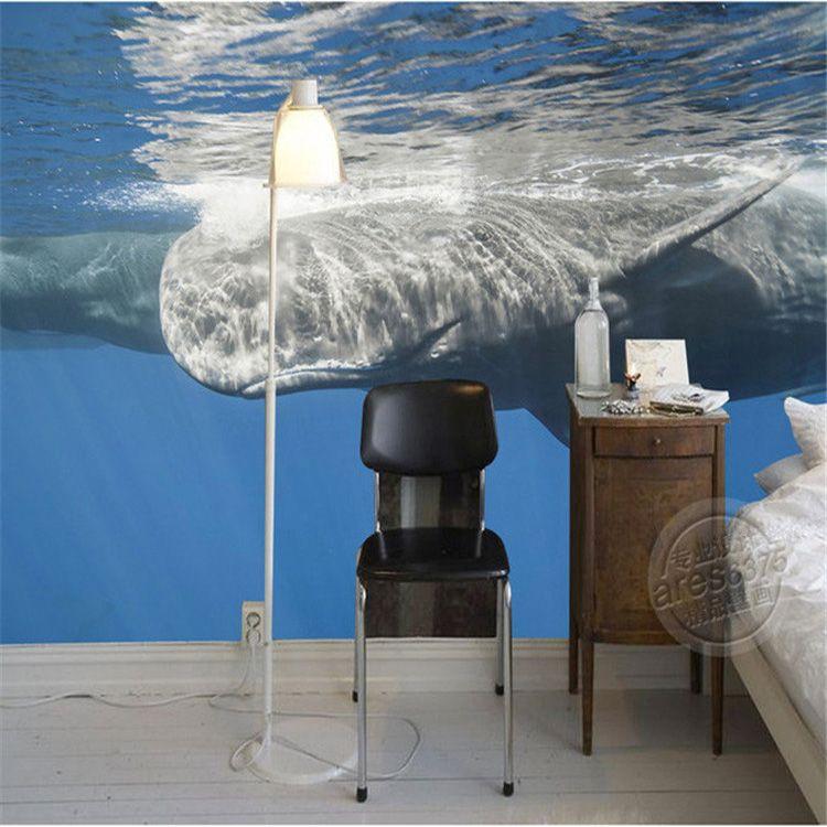 3d Ocean Wallpaper Whale Photo Wallpaper Natural Scenery Mural Wall  Painting Large Wall Art Sea World Room Decor Bedroom Ceiling Kidu0027S Room  Wide Wallpaper ...
