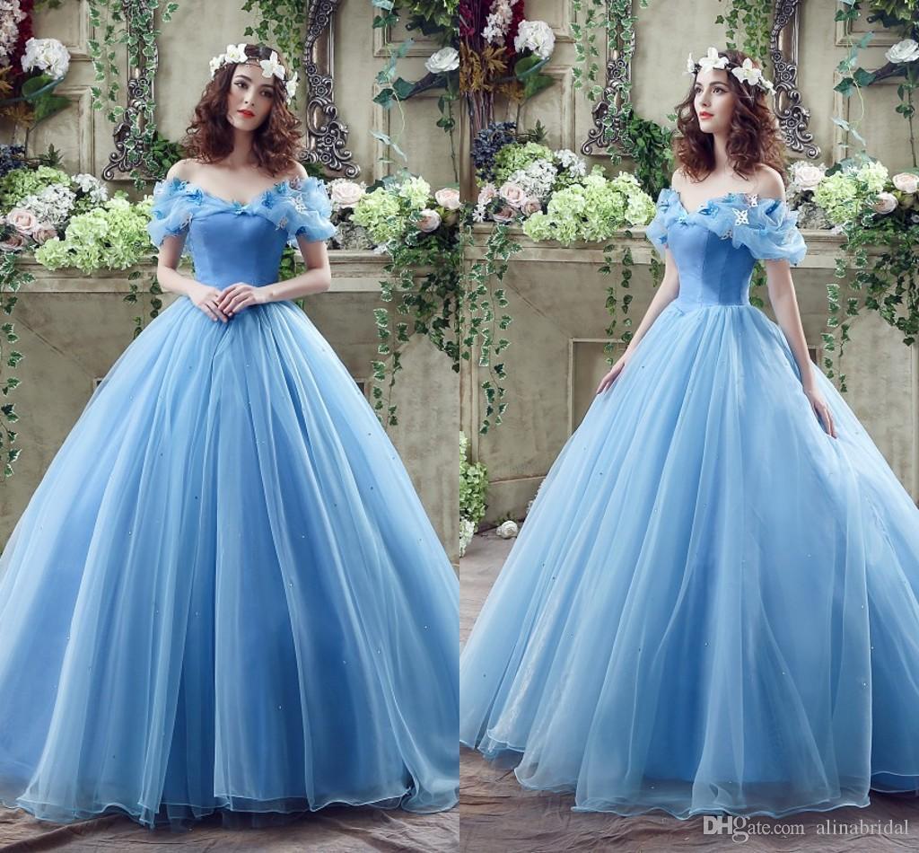 2018 Auf Lager! Prinzessin farbige Brautkleider mit Schmetterlings-Kristallfrühlings-Ballkleid weg vom Schulter-Licht-Himmel-Blau-Aschenputtel-Brautkleid