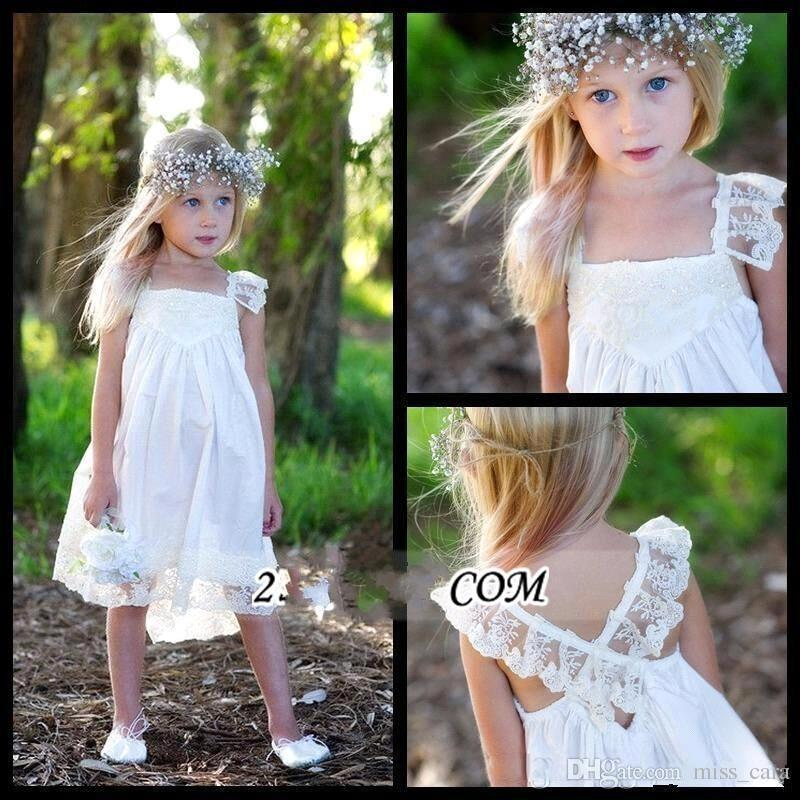 Cute Knee Length Flower Girl Dresses Crisscross Back Capped-Sleeves Short First Communion Gowns Cheap Kids Special Occasion Dress