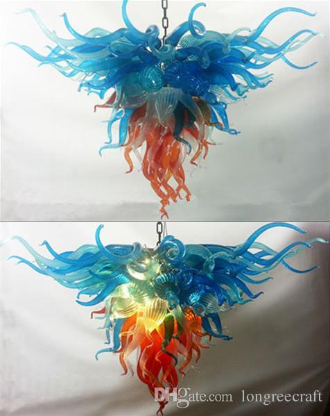 الفن الأزرق لون الظل المثلث الثريات ضوء الثابت زجاج مورانو الثريا وقلادة Lamps- Griban العلامة التجارية