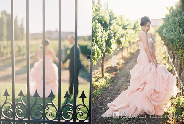 Blush Rose Flora Mermaid Wedding Dresses 2015 New Design Strapless Ruched Organza Court Train Backless Custom Made Colored Bridal Gowns