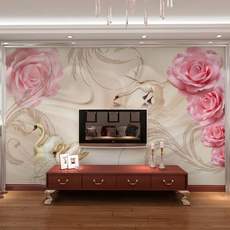 Acquista spedizione gratuita 3d romantico rose rosa murale - Carta da parati in camera da letto ...