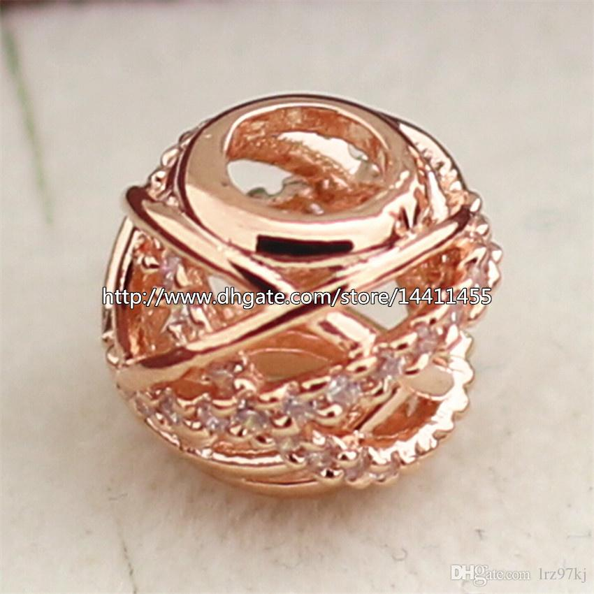 925 Sterling Silver & Rose Gold plated Galaxy Charm Bead with Clear Cz Fits European Pandora Jewelry Bracelets & Necklaces Necklaces