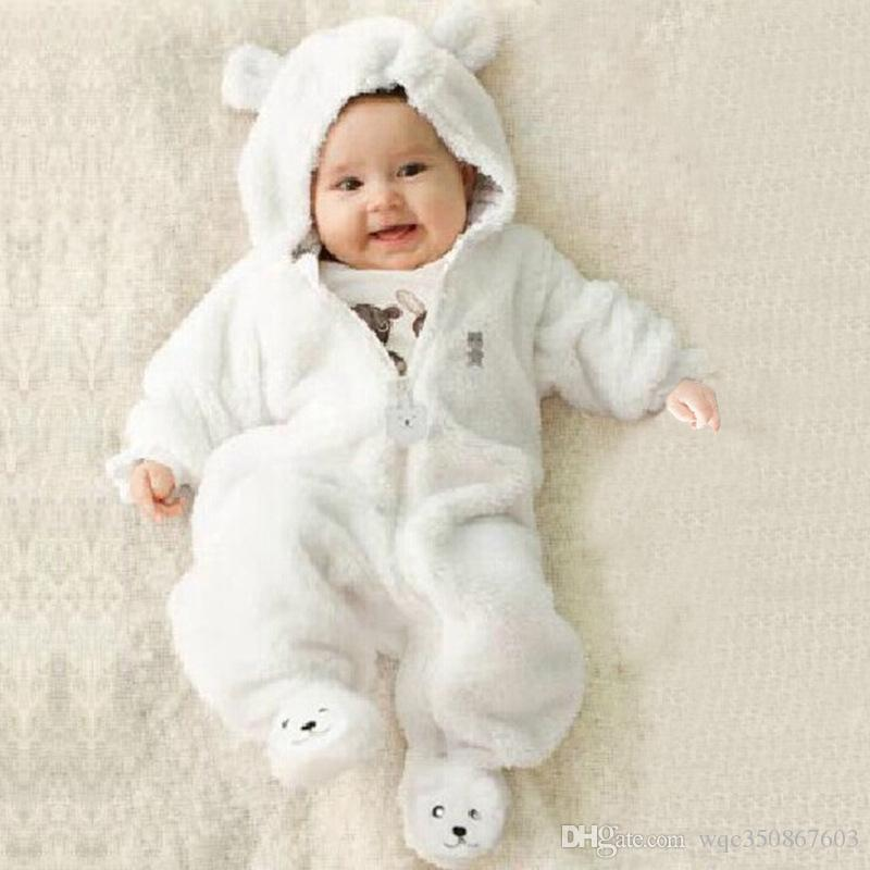 1ec21df19bb7 2019 2017 Fleece Baby Animal Jumpsuits Overalls Bear Style ...