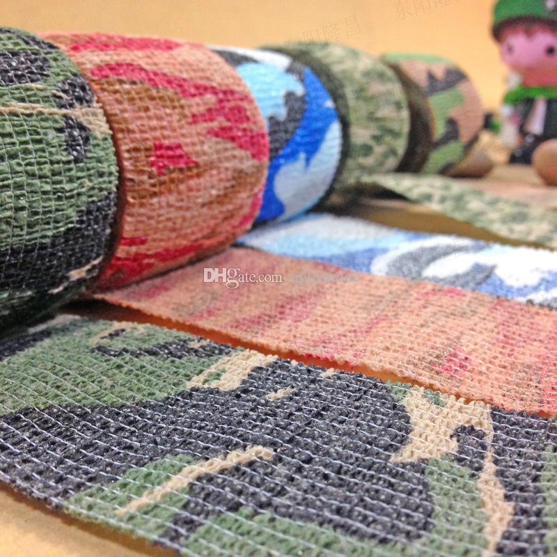 Spedizione gratuita 4.5M / Roll Camo Stretch Bandage, Camping Caccia Camouflage Tape Gun, Cloths Hot