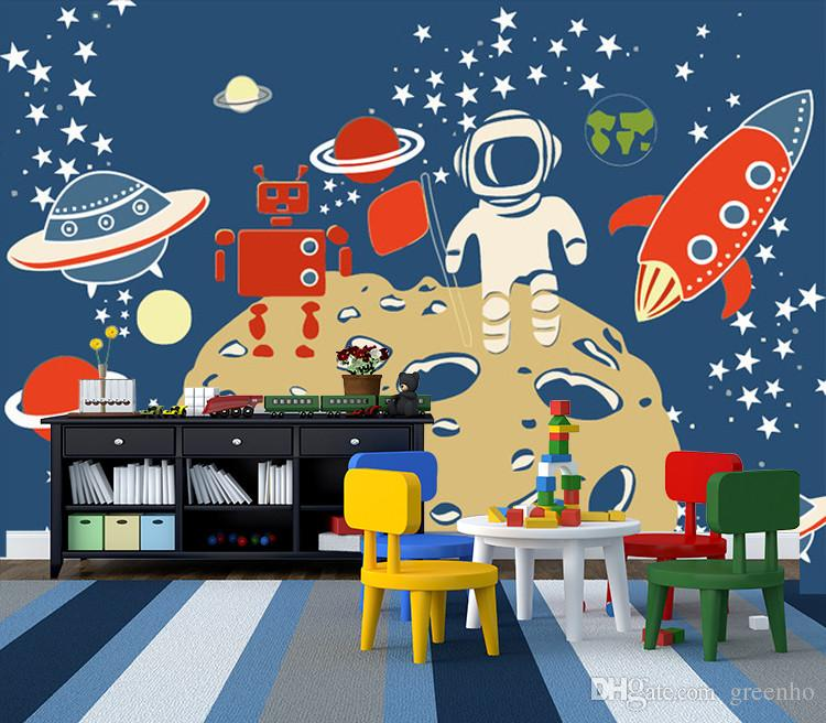 Space travel photo wallpaper custom 3d wall mural cartoon for Cartoon mural wallpaper
