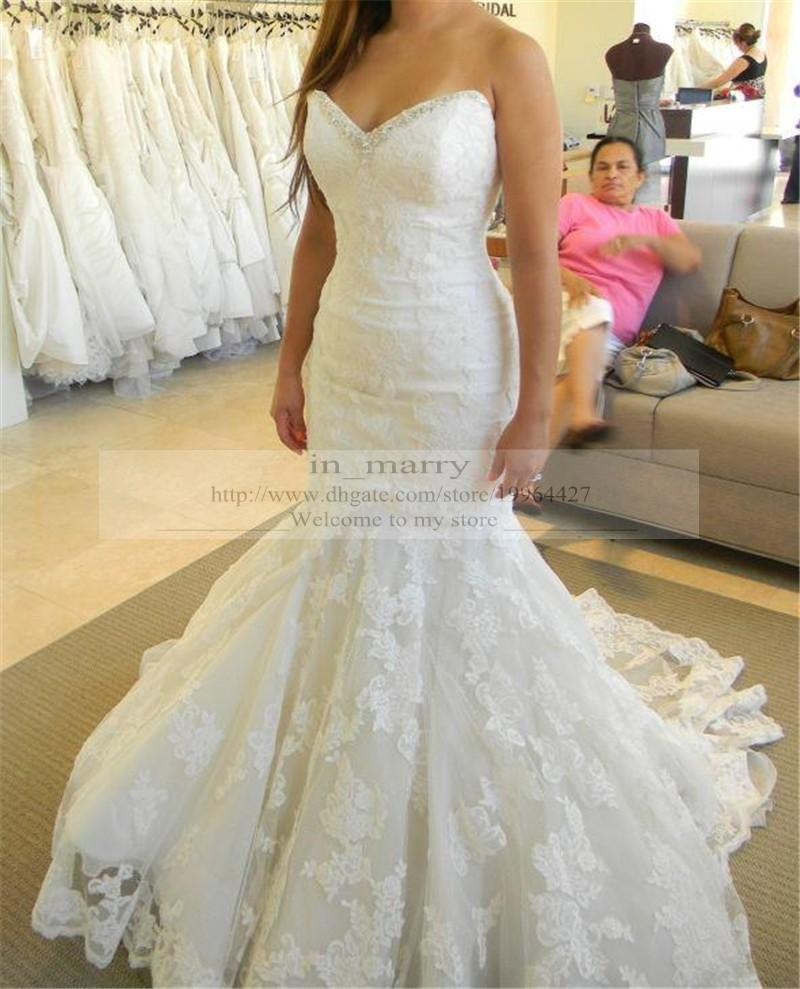 2016 Full Lace Trumpet Wedding Dresses Mermaid Sweetheart Beaded Neckline Elegant Real Images Arabic Bridal Gowns Vestido De Novia Weding Dress