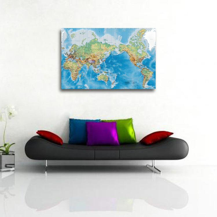 online cheap world map wall art canvas quadros de parede no frame adornment office background wall decorative painting creative english by giantcheap