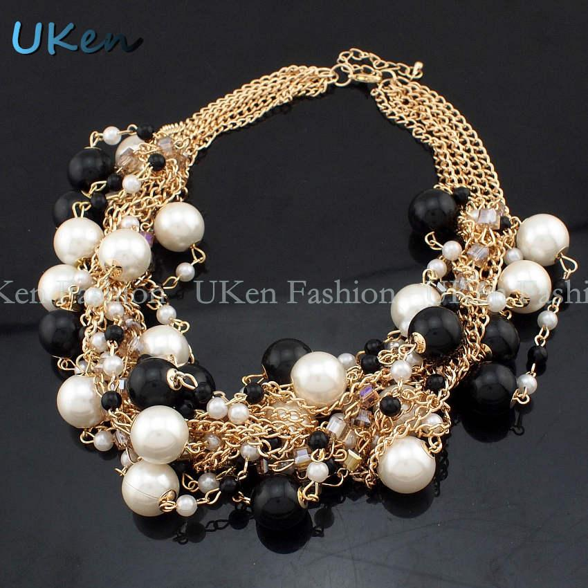 Moda multi catene d'oro croce di perle di strass perline choker dichiarazione collane bigiotteria le donne abito N1832