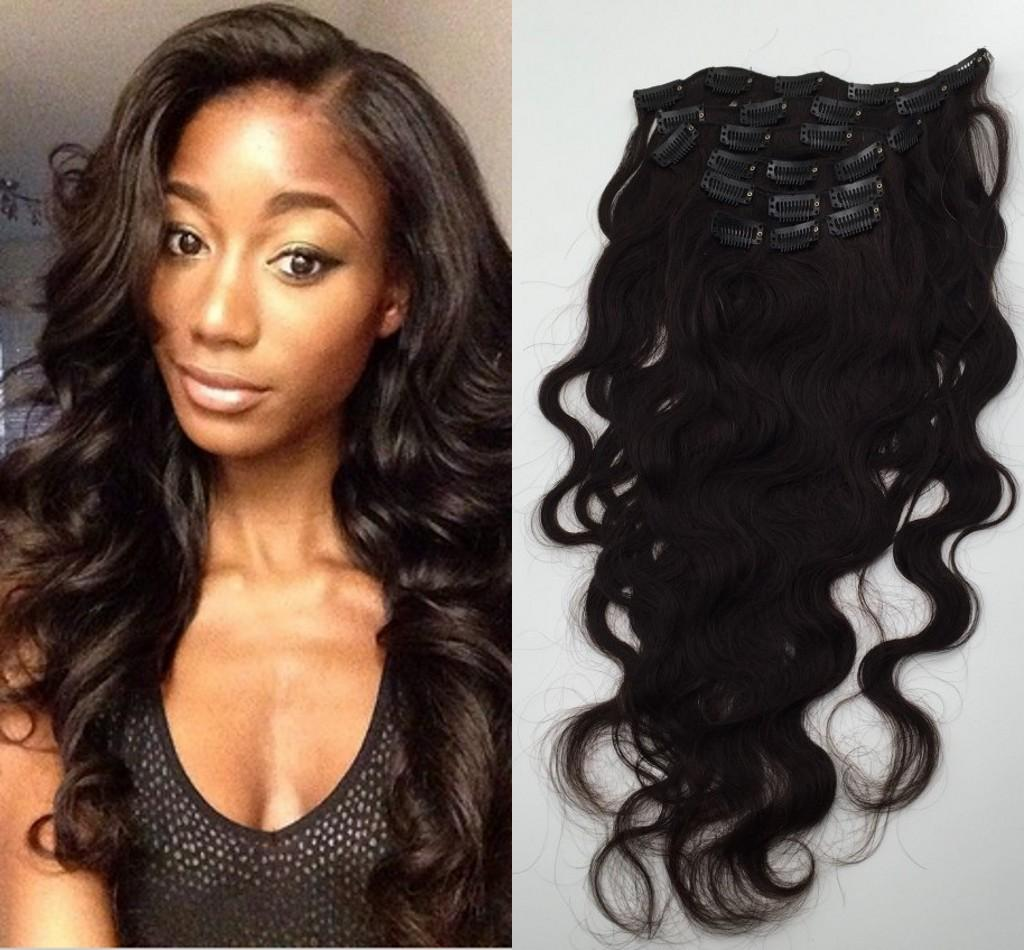 Malaysian Body Wave Clip In Hair Extension Cheap Unprocessed Clip In