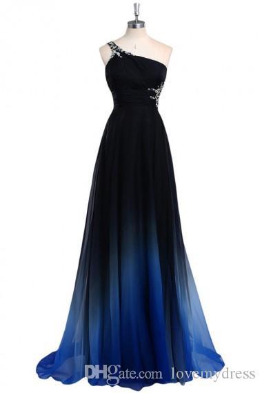 2019 Ombre Gradiant Renk Abiye Bir omuz İmparatorluğu Bel Şifon Siyah Kraliyet Mavi Tasarımcı Uzun Ucuz Balo Örgün Pageant Elbise