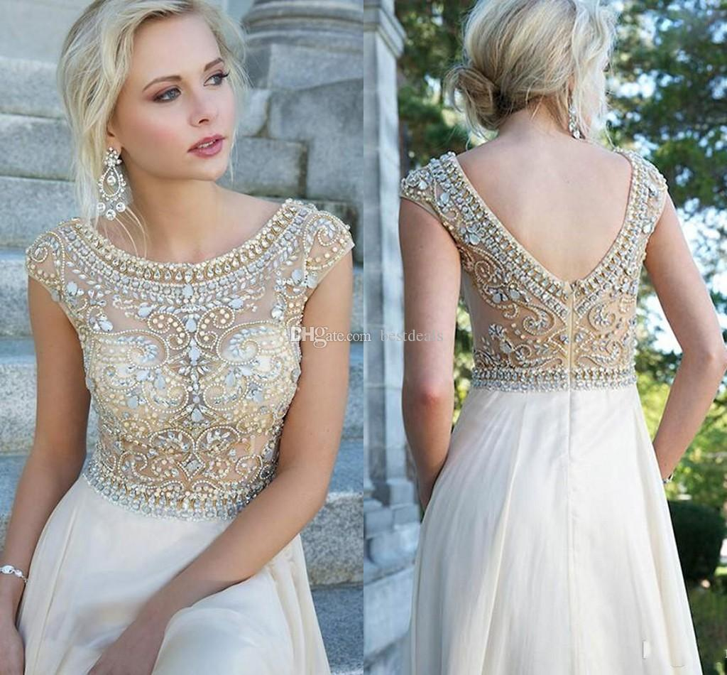 2015 Crystal Prom Dresses With Sheer Cap Sleeves See Through Crystal Beaded Bodice Chiffon A Line Evening Dresses 2014 Formal Evening Gowns