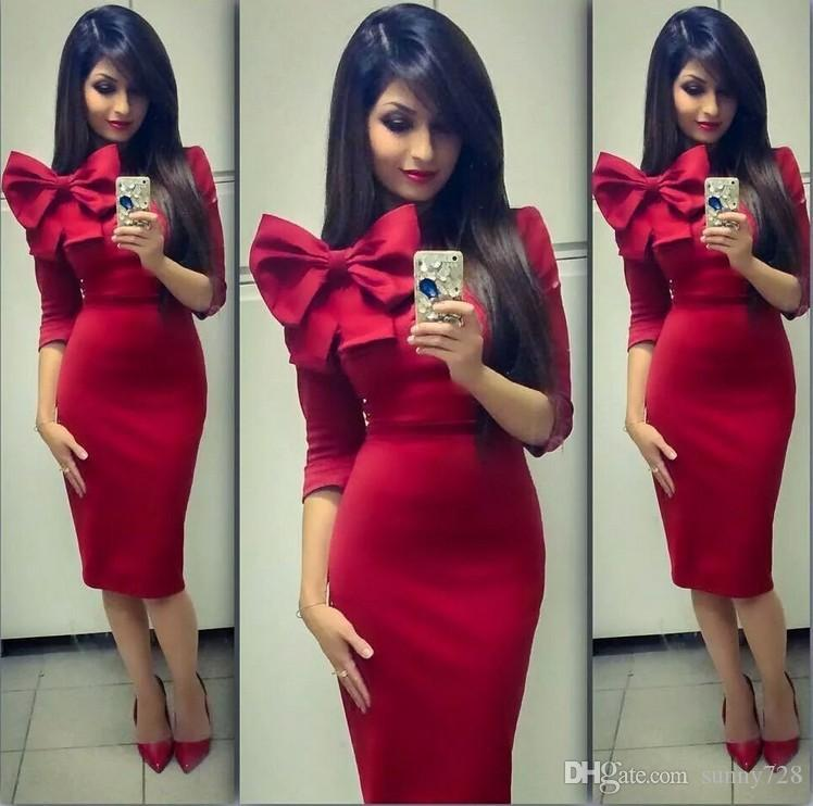 Latest 2016 Fashion Women Formal Evening Dresses Red Royal Blue Special Occasion Dress In Store Bow 3/4 Sleeve Sheath Prom Party Gowns