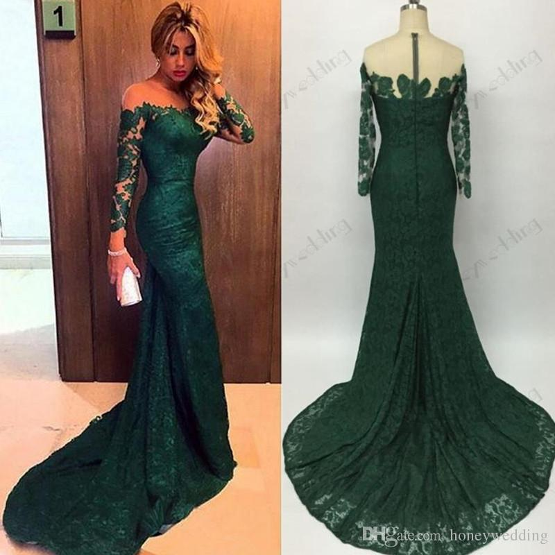 hot sale 2016 emerald green mermaid lace evening dresses custom
