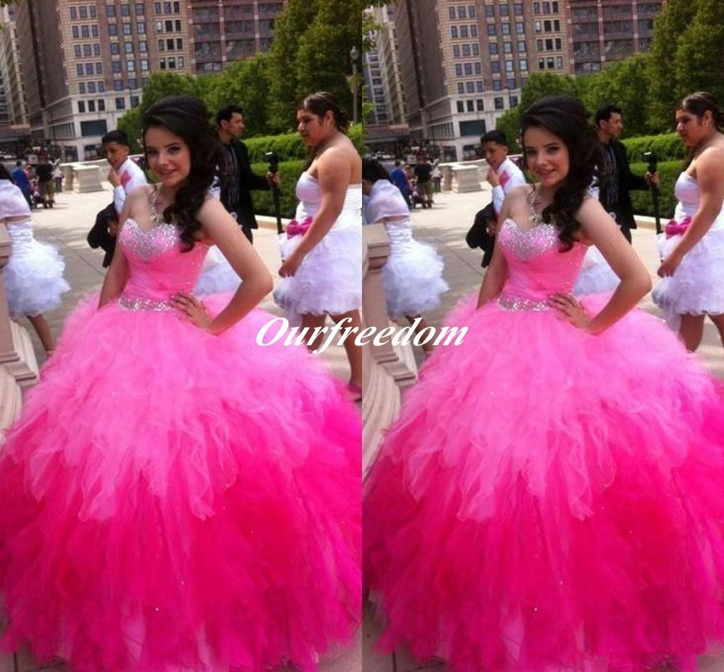 다채로운 Fushcia 핑크 공 가운 Quinceanera 드레스 Sweetheart Backless 크리스탈 비즈 Long Tiered Ruffles sweet 16 Prom Dresses