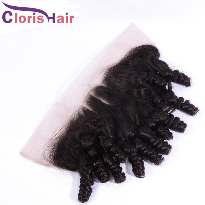 Pré-arrancada Kinky Curly Lace Frontal Frontal Orelha para Orelha 13x4 Raw Virgin Virgin Indian Curly Human Human Frontals Frontais Fechamento Natural Styline