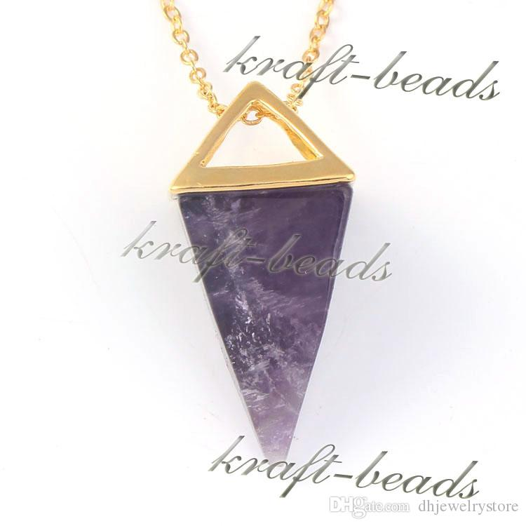 all'ingrosso classico placcato oro quattro angoli a forma di cuore naturale ametista quarzo rosa pietra preziosa pendenti pendenti collana