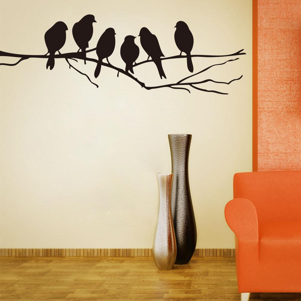 Wall Art Mural Decor Sticker Black Cute Birds On The Branch Wall Decal  Poster Living Room Bedroom Wall Decoration Stick Paper Sticker Quotes For  Walls ... Part 81