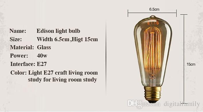 Fashion Incandescent Vintage Light Bulb Edison Bulb Fixture ST64 E27 Bulbs 220V/110v 40W Bulb Lights Antique Bulbs Edison Antique Lamps
