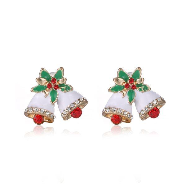 크리스마스 벨 귀걸이 스터드 패션 절묘한 다이아몬드 라인 석 스터드 귀걸이 18mm 크리스마스 선물 30 쌍 무료 배송