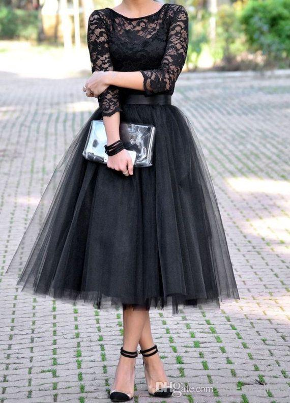 2015 3/4 Long Sleeves Tulle Skirt Bridal Shower Tea Length Bridesmaid Gowns cheap 2016 new style