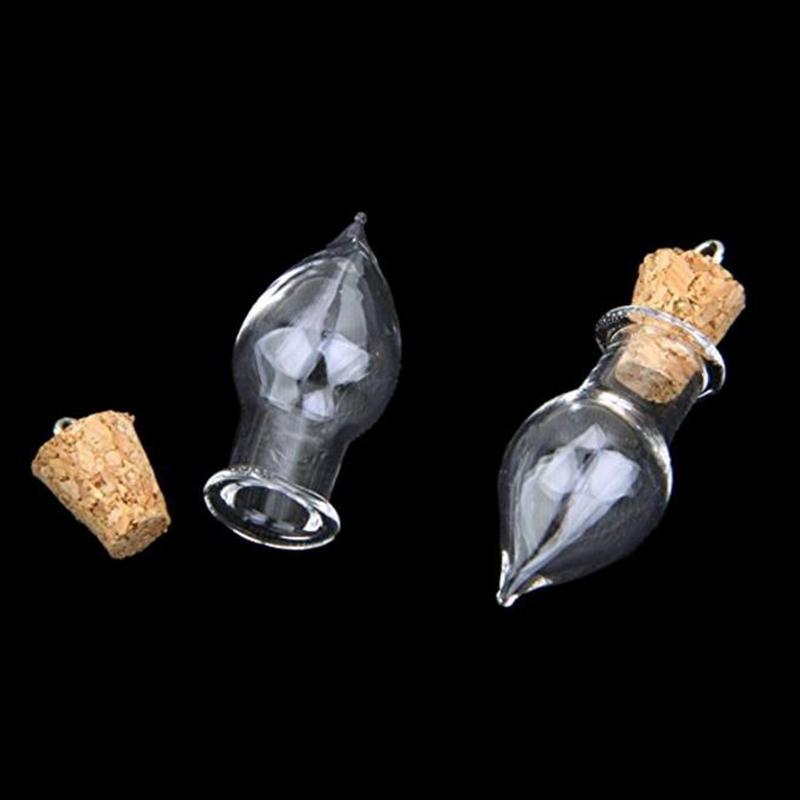 Minuscule larme Bouteille En Verre Fleur Séchée Flacon De Liège Bricolage Collier Pendentifs Petites Bouteilles En Verre Mini Pots MS060