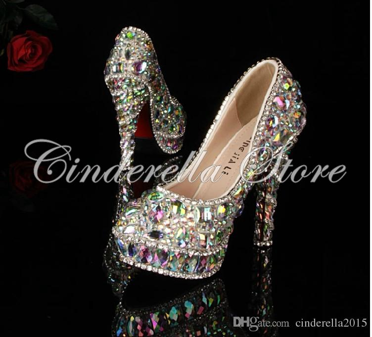 El más nuevo rhinestone de cristal Brillante de tacón alto para mujer dama nupcial por la noche Prom Party club Bar boda zapatos de dama de honor