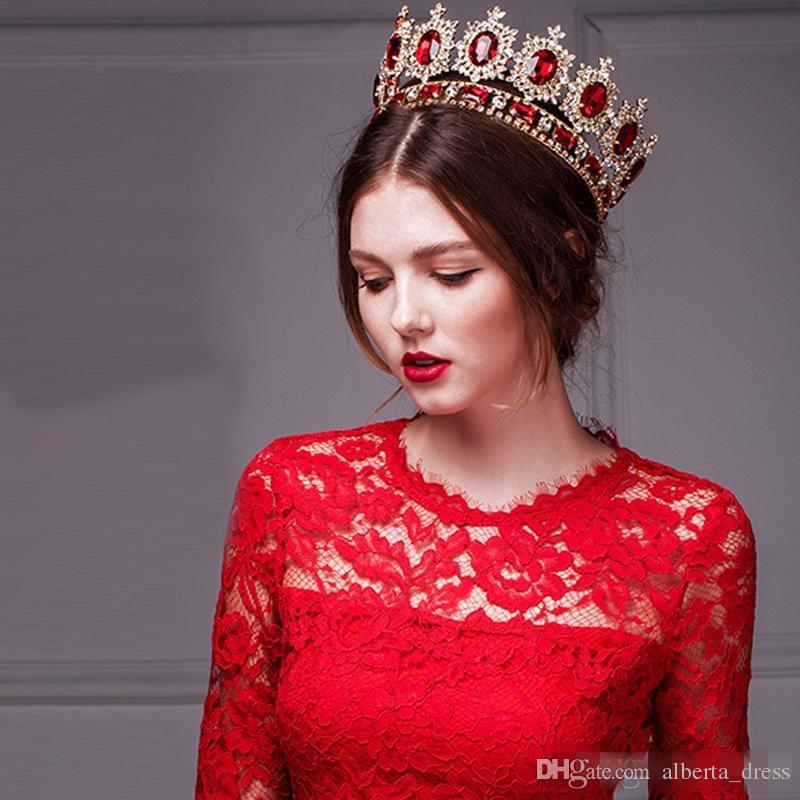 Western Style Red Dimand Crystal Head Jewelry Princess Queen Wedding Party Hair Accessoradwear Baroque Bridal Crown Tiaras And Crowns