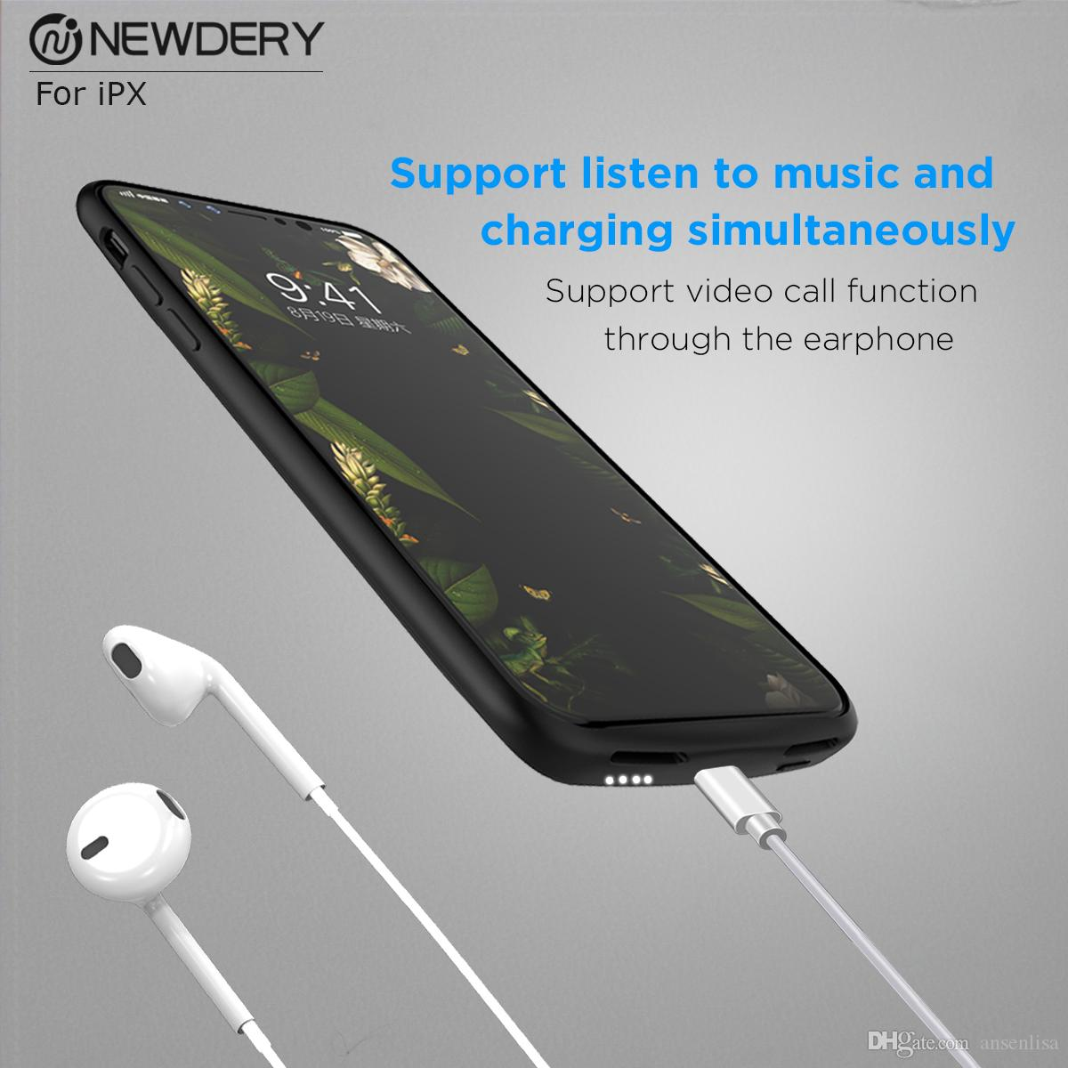 new products 2e569 24ab0 Ultra Slim Battery Case Power Case For iphone X 3600Mah Extended charger  Case full soft cover support listen music
