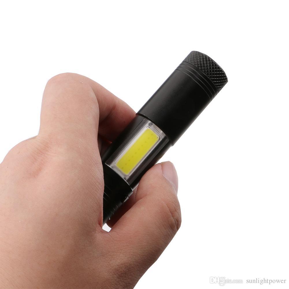 2017 neue 2000 Lumen Mini Taschenlampe CREE Q5 LED + COB LED Taschenlampe Lampe Clip Penlight 4 Modi