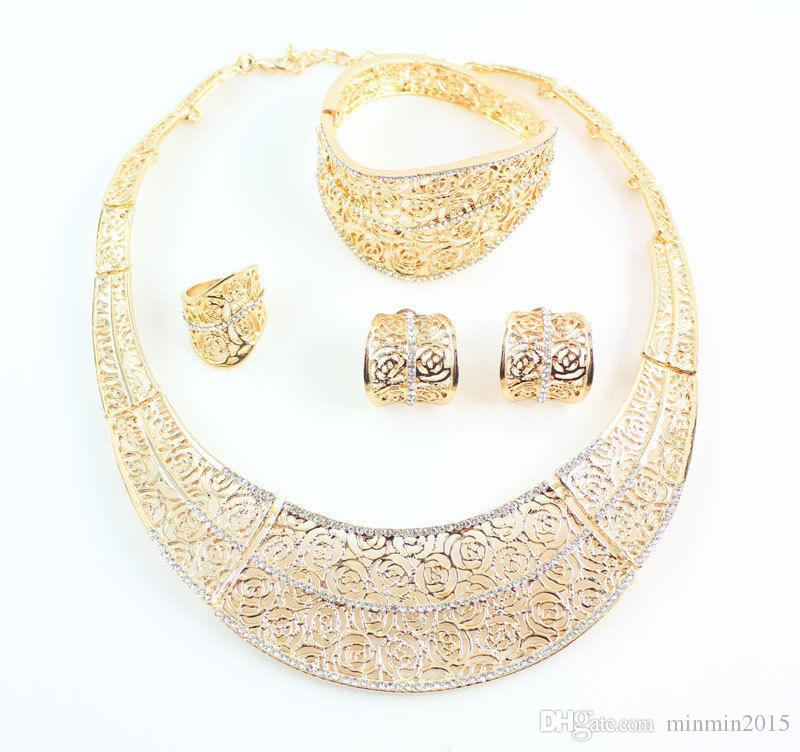 Classic Design Woman 18K Gold Plated Crystal Africa Dubai Wedding Party Necklace Earrings Bracelet Ring Gift Jewelry Set