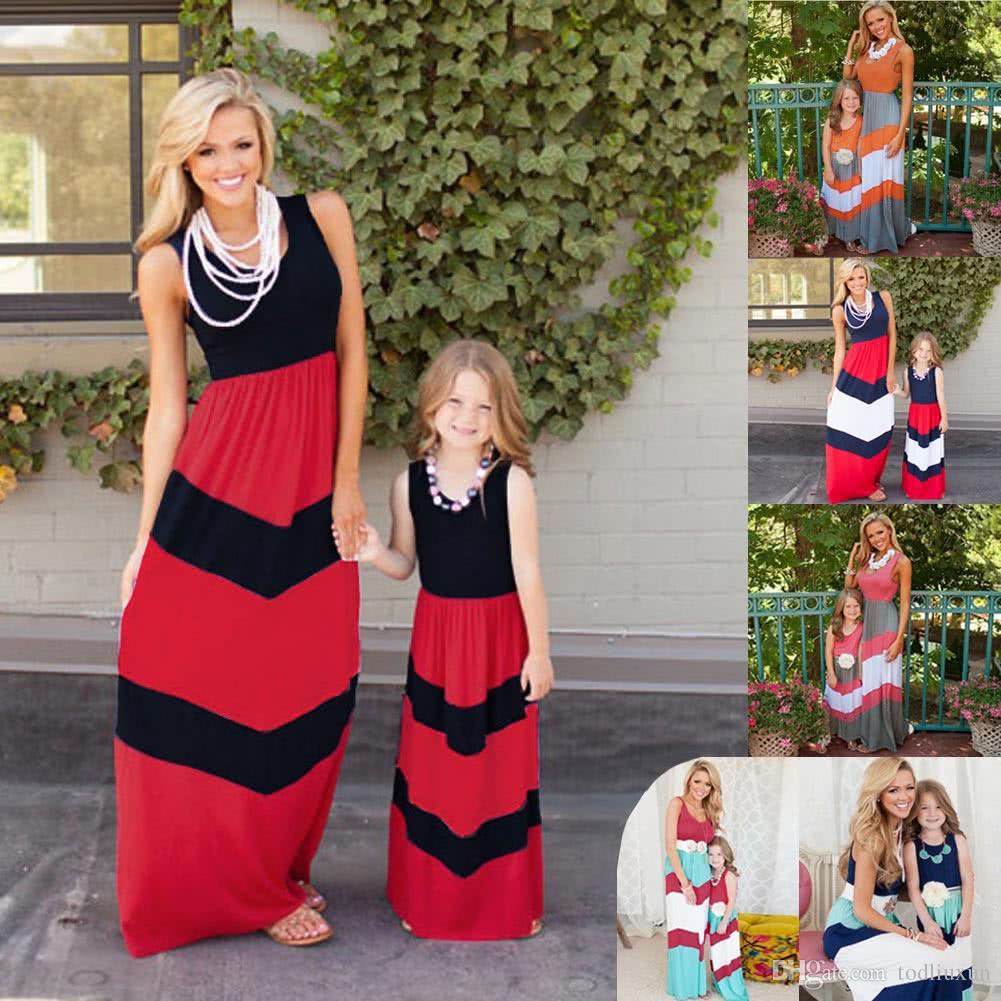 New Family Girls Daughter Striped Long Dress Sleeveless Color Block ...