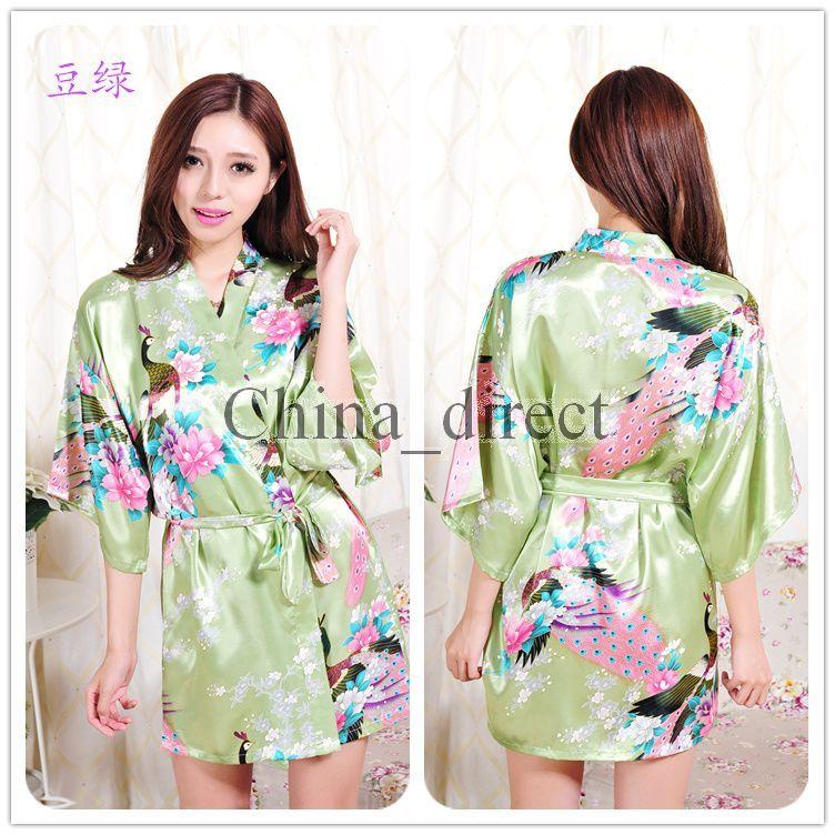 2017 sommer Weibliche Feste plain rayon seide kurze Robe Pyjama Dessous Nachthemd Kimono Kleid pjs Sexy Frauen Kleid bademantel 13 farben # 3795