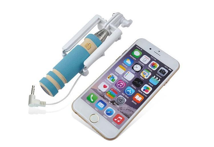 Universal Selbstporträt Wired Handheld Einbeinstativ ausziehbar Falten Mini Selfie Stick für iPhone Samsung HTC LG Sony Smartphone-Handys Kamera