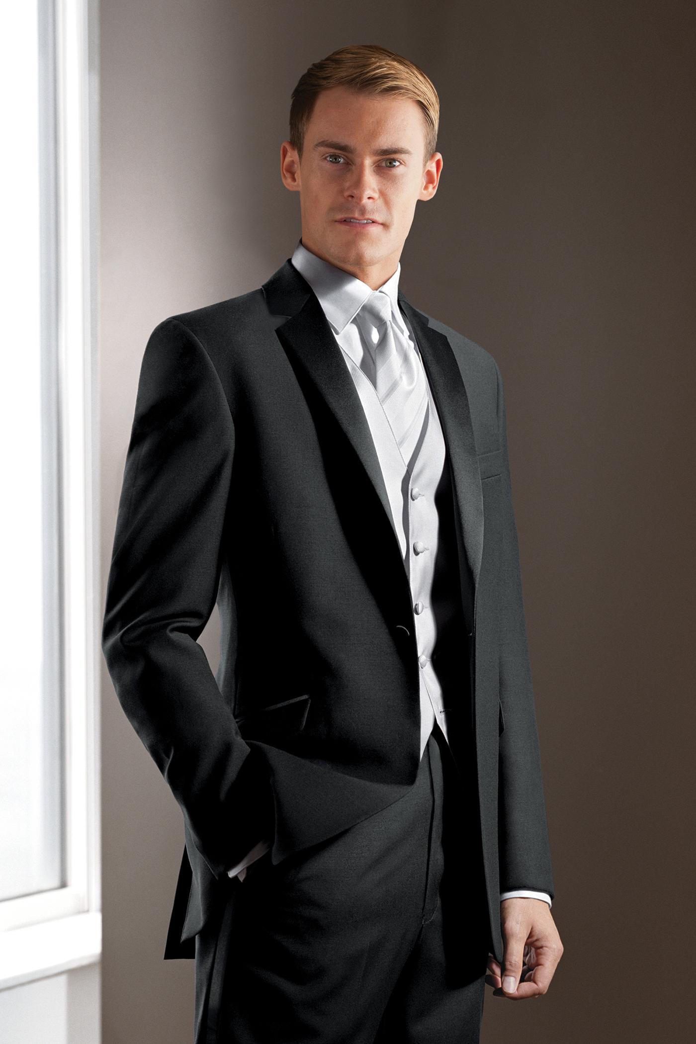 2015 Black Wedding Suits For Men Tuxedos Notched Lapel Best Mens One Button Groomsmen Three Piece Suit Jacket Pants Vest TieU1 Guys Prom