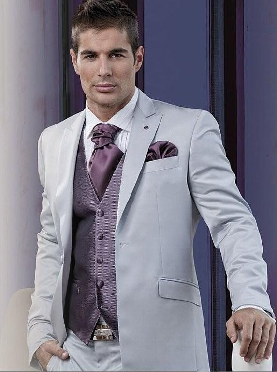 Silver Grey Men Wedding Suits Peaked Lapel Grooms Tuxedos Mens ...