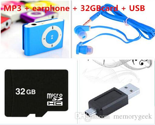 Hot sale With 8GB 16GB 32GB TF Card MINI Clip MP3 Player With Cable/USB+Earphone+ Micro TF/SD Card No Retail Box Music players