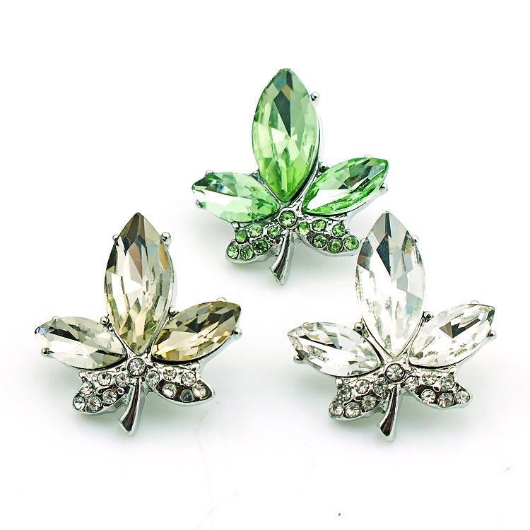 Alta quantità 18mm Bottoni a pressione Fashion i Crystal Maple Metal Ginger Catenacci DIY Noosa Accessori gioielli