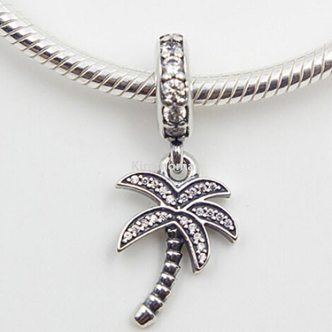 100% 925 Sterling Silver Sparkling Palm Tree Dangle Charm Bead with Cz Fits European Pandora Style Jewelry Bracelets Necklaces & Pendants