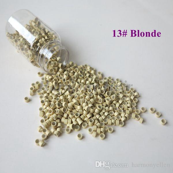 Toptan 1000 adet / şişe 5 * 3 * 3mm 7 # Işık sarışın Alüminyum Silikon Kaplı Mikro Yüzükler / Linkler / Boncuk Tüy için Insan Saç Uzantıları