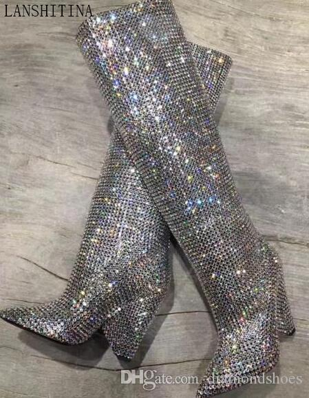 2017 fashion desigh diamond boot pointed toe booties high heels boots glitter rhinestone stud boots shine knee high boots party shoes women